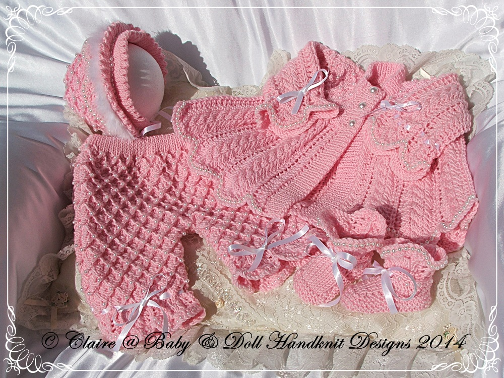 'Pearly Princess' 16-22 inch doll/0-3m baby-pearl, pearly, princess, babydoll handknit designs, bling. knitting pattern
