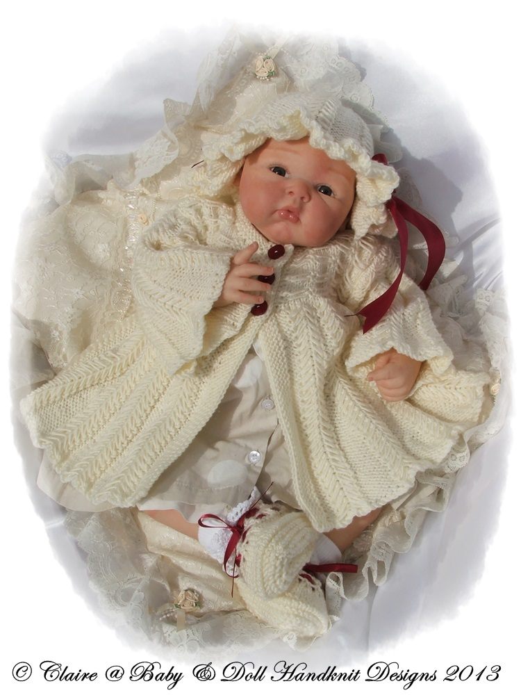 Herringbone Coat Set for 16-22 inch doll/newborn/0-3m baby-babydoll handknit designs, knitting pattern, reborn, baby, doll, coat