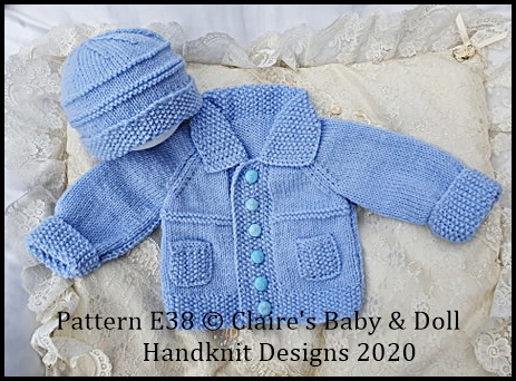 Jacket & Beanie pattern 14-20 inch chest (newborn-18m approx)