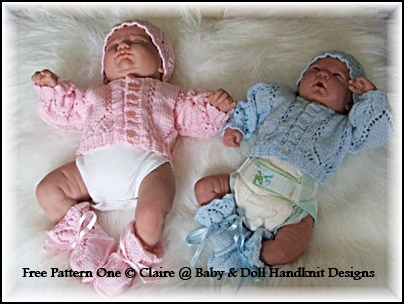 FREE Premature baby Cardigan, hat and bootees set