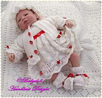 'Strawberries and Cream' 16-22 inch doll/0-3m baby