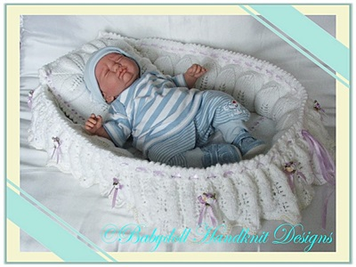 Frilled Display Crib 16-22 inch dolls-crib, reborn