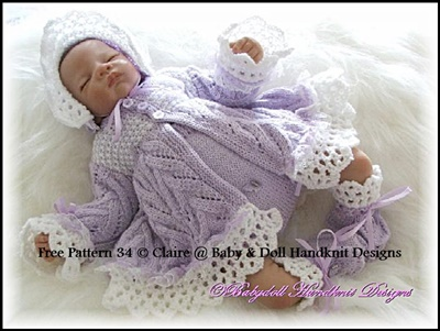 FREE Lacy Edged Matinee Set Pattern 16-22 inch doll/0-3m baby