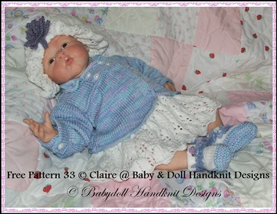 Lacy Dress Set with Double-breasted Coat 16-22 inch doll/0-3m baby