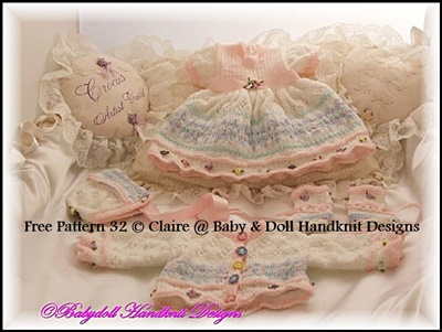 Fairisle Dress Set 16-22 inch doll/0-3m baby