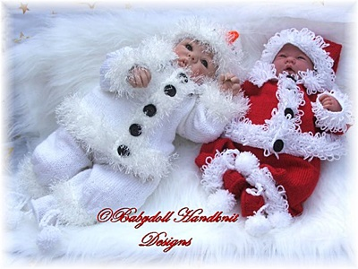 Santa & Snowman Outfits for 16-24 inch dolls/newborn/0-3m baby