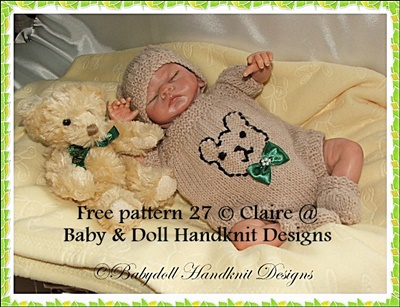 FREE Teddy Bear Motif Romper Set 8-13 inch dolls