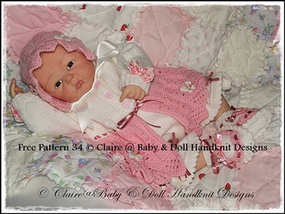 Picot Edged & Lacy Edging Matinee Set 16-22 inch doll/0-3m baby
