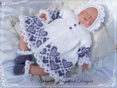 Heart Patterned Matinee Set 16-22 inch doll/0-3m baby