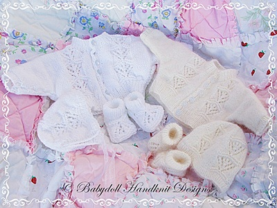 Dolman Sleeved cardigan set for premature & newborns and 14-21 inch dolls