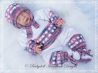 'Snowballs' Sweater Set 16-22 inch doll/0-3m baby