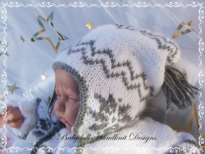 Snowflake Motif Outfit 16-22 inch doll/0-3m baby-knitting pattern, doll, baby, reborn