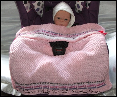 'Striped Squares' Car Seat Blanket 0-9m car seat
