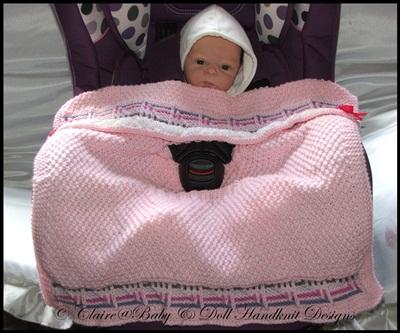'Striped Squares' Car Seat Blanket 0-9m car seat