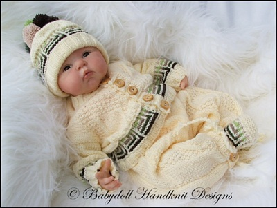 'Striped Squares' Suit 16-22 inch doll/0-3m baby