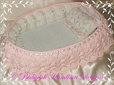 Frilled Bassinet Crib 11-16 inch Dolls-crib, bassinet, knitting pattern, doll