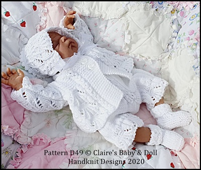 Scalloped Matinee Set for 14-18 inch doll (preemie-newborn baby)