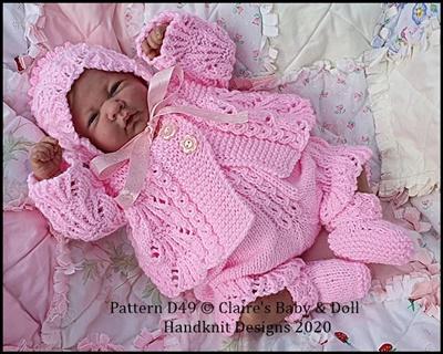 Scalloped Matinee Set for 14-18 inch doll (preemie-newborn baby)