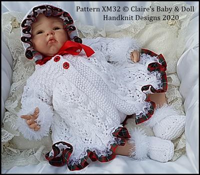 Christmas Carol Matinee Set to fit 16-22 inch doll/reborn (preemie-3m+)