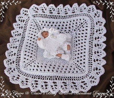 "'Welcome Home' Shawl & Matinee Set 4-8"" doll-knitting pattern, ashton drake, matinee set, doll, shawl"