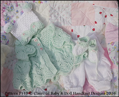 Lacy Spring Pram Suit 16-22 inch doll/prem-3m+ baby