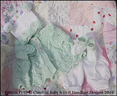 Lacy Spring Pram Suit 16-22 inch doll/prem-3m+ baby
