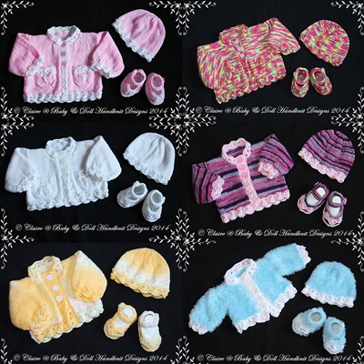 "Daisy Edged Cardigan Set 12""-20"" Chest (prem-12m baby)"
