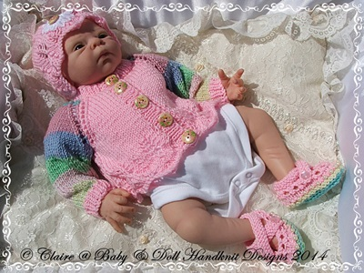 New baby girl gift set cardigan, bonnet and shoes for early/newborn baby/15-19 inch doll