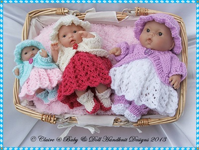 Dress & Bolero Set for 5-8� Berenguer dolls-knitting pattern, babydoll handknit designs, berenguer, lots to love