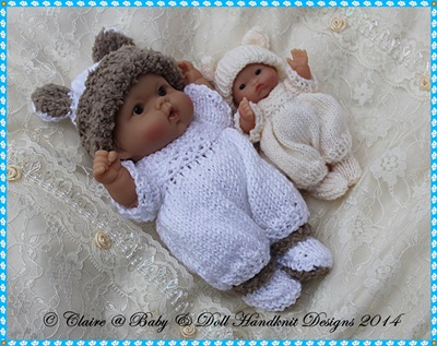 Animal Romper Set for 5 & 8� Chubby Berenguer dolls-babydoll handknit designs, knitting pattern, berenguer, doll, lots to love