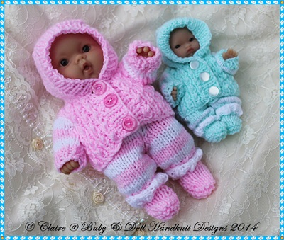 "Cosy Hooded Suit for 5 & 8"" Berenguer Dolls-babydoll handknit designs, knitting pattern, berenguer, doll, lots to love"