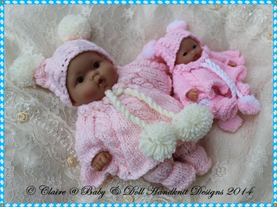 Poncho Set for 5 & 8� Chubby Berenguer dolls-babydoll handknit designs, knitting pattern, berenguer, doll, lots to love