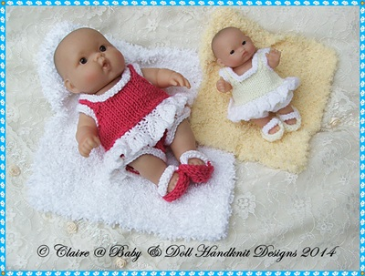 Day at the Beach Set for 5 & 8� Chubby Berenguer dolls-bereguer, knitting pattern
