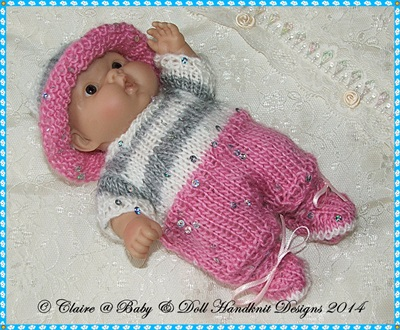 Summer All in One Set for 5 & 8� Chubby Berenguer dolls-berenguer, knitting pattern