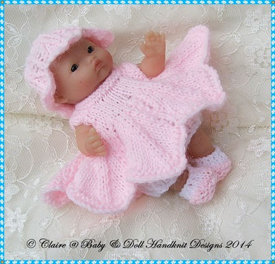 "Flower Fairy Dress Set 5 & 8"" Berenguer Doll-berenguer knitting pattern"