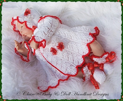 Christmas Matinee Set 16-22 inch doll/newborn/0-3m baby