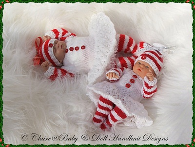 'Candy Cane' Christmas outfit for 9-12 inch dolls