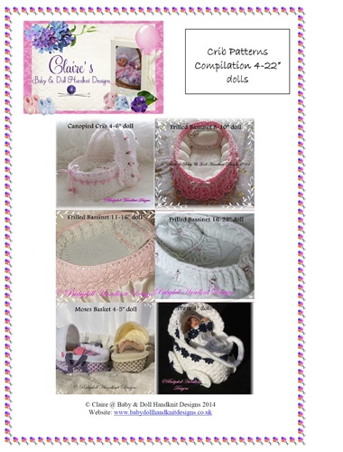 "Compilation of 6 crib patterns to suit dolls from 4-22"" in length-crib, bassinet, doll, knitting pattern"