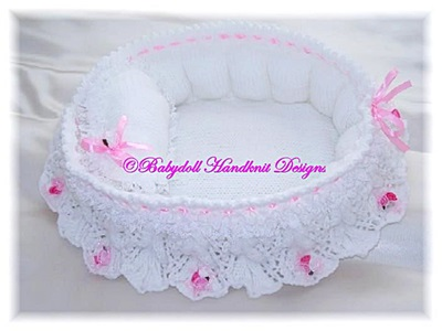 Frilly Bassinet/Crib 8-10 inch dolls-crib, bassinet