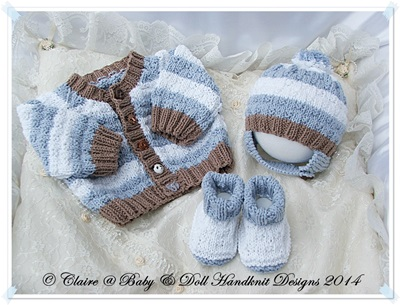 'It's a boy' Cardigan, Nappy Cover, Hat and Bootees 14-22 inch doll/preemie-3m baby