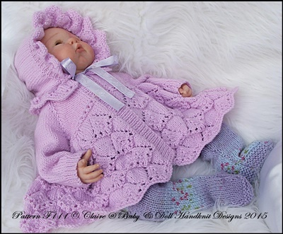 Traditional Matinee Set 16-22 inch doll (preemie-3m+ baby)