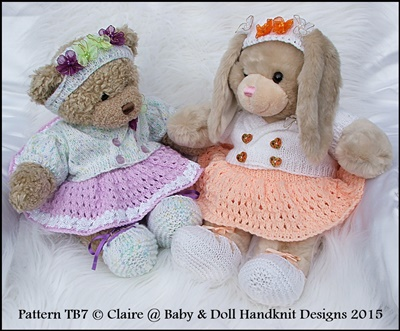 "Ballerina Set Pattern for 16"" Teddy or Build a Bear Animal-knitting pattern, teddy, build a bear, build a bear clothes, babydoll handknit designs"