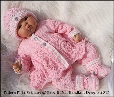 Lacy Trouser Suit 16-22� doll/prem-3m+ baby-knitting pattern, reborn, doll, baby, frost and flowers stitch, babydoll handknit designs, matinee coat, shoes, trousers, beanie