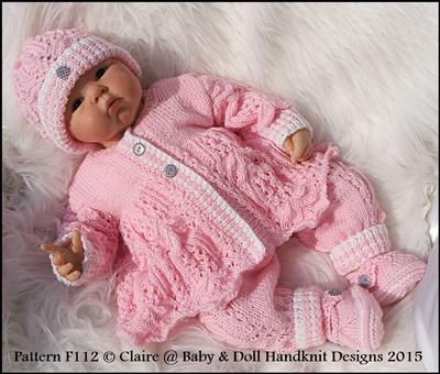 Lacy Trouser Suit 16-22 inch doll/prem-3m+ baby