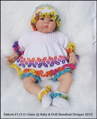 "Frilly Edged Angel Top Set 16-22"" doll/prem- 3m+ baby-babydoll handknit designs, ice baby yarn, reborn, knitting pattern, baby angel top, frilly"