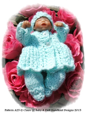 Lacy Feathered Matinee Set 4-8 inch dolls