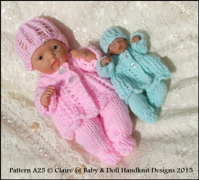 Lacy Feathered Matinee Set 4-8� dolls-ashton drake, handful, sculpt, ooak, dolls clothes, knitting pattern, reborn, babydoll handknit designs