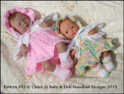 Petal Skirt Dress Set 7-12� doll-knitting pattern, reborn, emmy, ashton drake, babydoll handknit designs, coll clothes