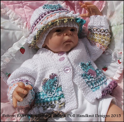 Cardigan, beanie and boots for early/newborn baby/15-19 inch doll