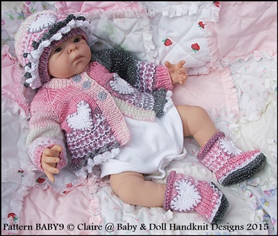 Cardigan, beanie and boots for early/newborn baby/15-19� doll-knitting pattern, new baby, doll, gift, hearts
